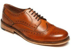 Mens Catesby Leather Shoes Lace Up Smart Tan Brogues Office Formal Occasion