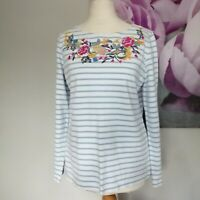 Joules Womens Blue White Striped Floral Embroidered Long Sleeve Cotton Top UK12