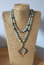 Fashion long knot Amazonite Stones w leaf pendant Necklace woman jewelry gift