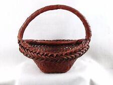 Vintage Antique Japanese Woven Handled Bamboo Basket Ikebana Vase Hana Kago