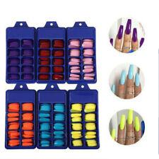 100 Pcs False Nail Tips Full Cover Long Fake Nails Art Manicure Supplies