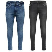 Only & Sons Mens Skinny Jeans Branded Stretch Pants Trousers Jeans in Blue Denim
