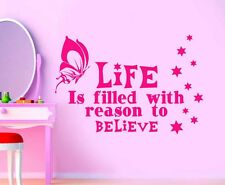 Kids/Girls Bedroom Wall Sticker/Decal Life is Filled With Quote