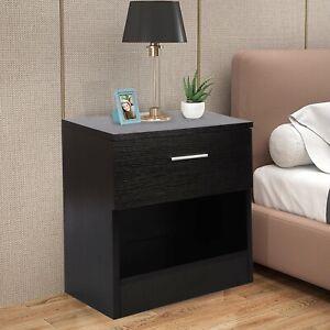 1 Drawer Wooden Bedside Table Cabinet Bedroom Furniture Storage Nightstand UK