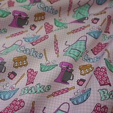 "White & Pink Check ""Just Bake"" Craft Cotton Fabric (Per Metre)"