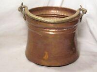 vintage antique hammered copper brass bowl pot kettle cauldron metalware pail