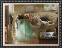 "Hand-painted Oil painting art Original Impressionism girl rose on Canvas 30""x40"""