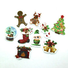 50pcs Mixed Size Christmas Item Wood Buttons Craft Sewing Cards Decoration DIY