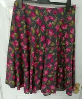 ❤ PHASE EIGHT Size 14 Grey Pink Green Floral Rose Print Cotton Skirt Side Zip