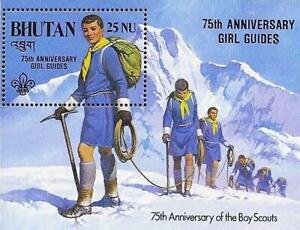 👉 BHUTAN 1986 BOY SCOUTS/GIRL GUIDES S/S MNH ALPINISM, MOUNTAINS