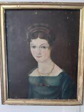 Portrait naïf de jeune femme Époque Empire Ecole Française du XIXème siècle HST
