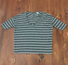 I Love H81 Small Gray White Striped Casual Top Poly Rayon S