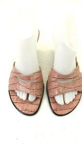 FRANCO SARTO WOMENS PINK LEATHER CROC PRINT SLIP ON BACKLESS PUMPS SIZE 9 M US