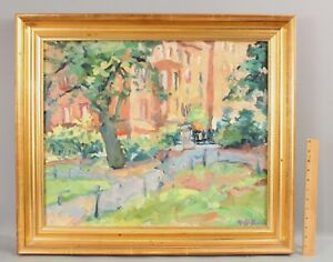 Signed American Impressionist Boston Brownstone Oil Painting & Gold Gilt Frame