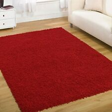 RED PLAIN SOFT SILKY 5cm PILE MODERN STYLISH  NON SHED HIGH QUALITY SHAGGY RUG