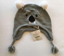 NWT Gymboree Snow Chillin' 3-4 Gray Koala Bear Tassel Sweater Hat 3T-4T