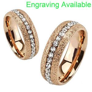Rose Gold Stainless Steel Round Cubic Zirconia Eternity Womens Wedding Ring 7-13