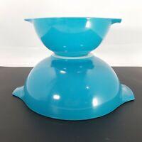 LOT of 2 Pyrex Cinderella Bowl #442 1 1/2  Qt. #444 4 QT SOLID Blue TURQUOISE