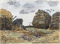 Aquarell Impressionist Karl Adser Fünf Eichelhäher im Stroh Jay Bird 31,5 x 24
