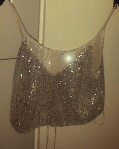 2* teiliges Kleiderpaket S 36 38  Zara Glitzer Top Bluse Pulli
