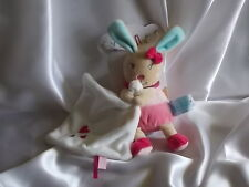 Doudou perle de lapin rose, mouchoir blanc coeurs rouge, Baby Nat, (Babynat)