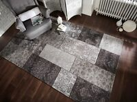 SALE ON Manhattan Patchwork Black Grey Tapestry Style  Soft Rug in two sizes