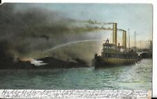 FIRE BOAT IN ACTION NORTH RIVER NEW YORK EARLY POSTCARD