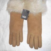 UGG® Australia  SHEARLING Fur Cuff GLOVES,Medium,Chestnut, NWT