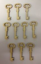 10 NATURAL WOODEN KEY NEW HOME CARD MAKING SCRAPBOOKING CRAFT EMBELLISHMENTS
