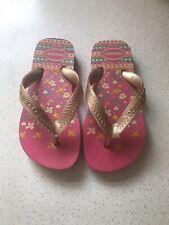 Girls Pink Floral Havaianas Flip Flops Size UK Infant 8 (25/26 EUR 27/28)