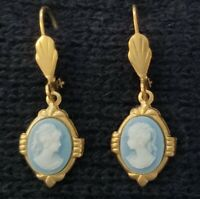Vintage WOMAN CAMEO EARRINGS Victorian Style For Pierced Ears LEVER BACK JEWELRY