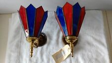 Pair Vintage Retro Brass/Glass Wall Lamps unused