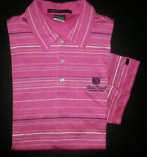 Pink White Stripe L TIGER WOODS S/S Nike Fit Dry Golf Polo! 1767s