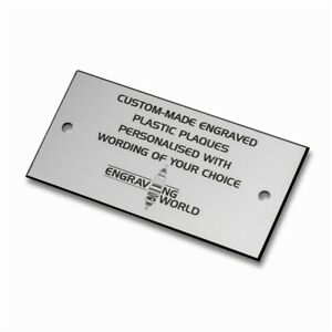 101mm x 63mm Personalised Engraving Engraved Plastic Plaque Sign (Silver/Black)