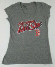 BOSTON RED SOX BASEBALL - GRAY V-NECK LARGE WOMENS T-SHIRT C1909
