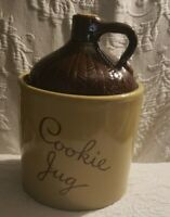 Cookie Jar Moonshine Whiskey Jug Pottery Cork Top Maple Leaf Monmouth ILL USA