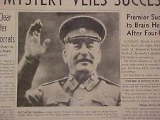 VINTAGE NEWSPAPER HEADLINE ~DEATH SOVIET UNION STALIN DEAD RUSSIAN DICTATOR DIES
