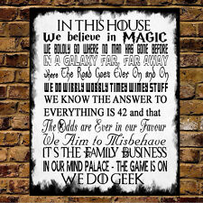 Familia normas Placa Geek Harry Potter-Star Wars Dr Who Lotr Sobrenatural