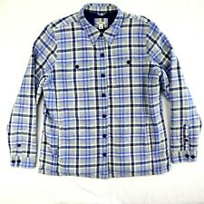 LL Bean Quilted Insulated Flannel Shirt Jacket Plaid Button Lined Mens Large