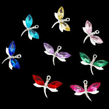 10pc Alloy Crystal Dragonfly Pendants for Crafts Nacklace Bracelet DIY Accessory