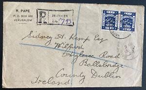 1920 Jerusalem Palestine Registered Cover To Dublin Ireland