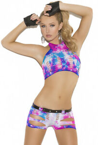 Neon tie dye cami top and booty short set