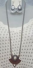 Lucky Brand Silver Tone Mother Of Pearl Stone Dangle Earrings Pendant Mop Set