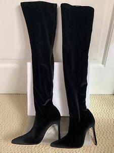 NIB Manolo Blahnik Pascalarehi 105 Black Velvet Over The Knee Boots 37 7 $1495