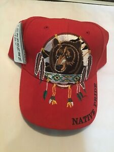 Native Pride Bear Ball Cap Adjustable Supreme Cap Red