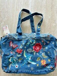 Johnny Was Cara denim duffle tote jean blue embroider bag Handbag Purse Zip New