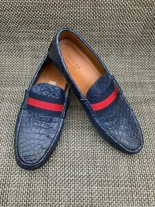 ~Men's GUCCI navy alligator/croc signature loafers/driving shoe~10~MINT!~RARE!~
