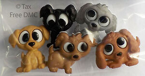 Dress It Up Playful Puppies Dogs 5 Fun Shank Buttons New Crafting Cardmaking New