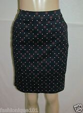 NWT TOMMY HILFIGER WOMES NAVY & RED PATTERN COTTON BLEND PENCIL SKIRT SIZE 6