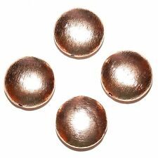 MB3110f Brushed Textured Copper 16mm Flat Puffed Round Coin Beads 4/pkg